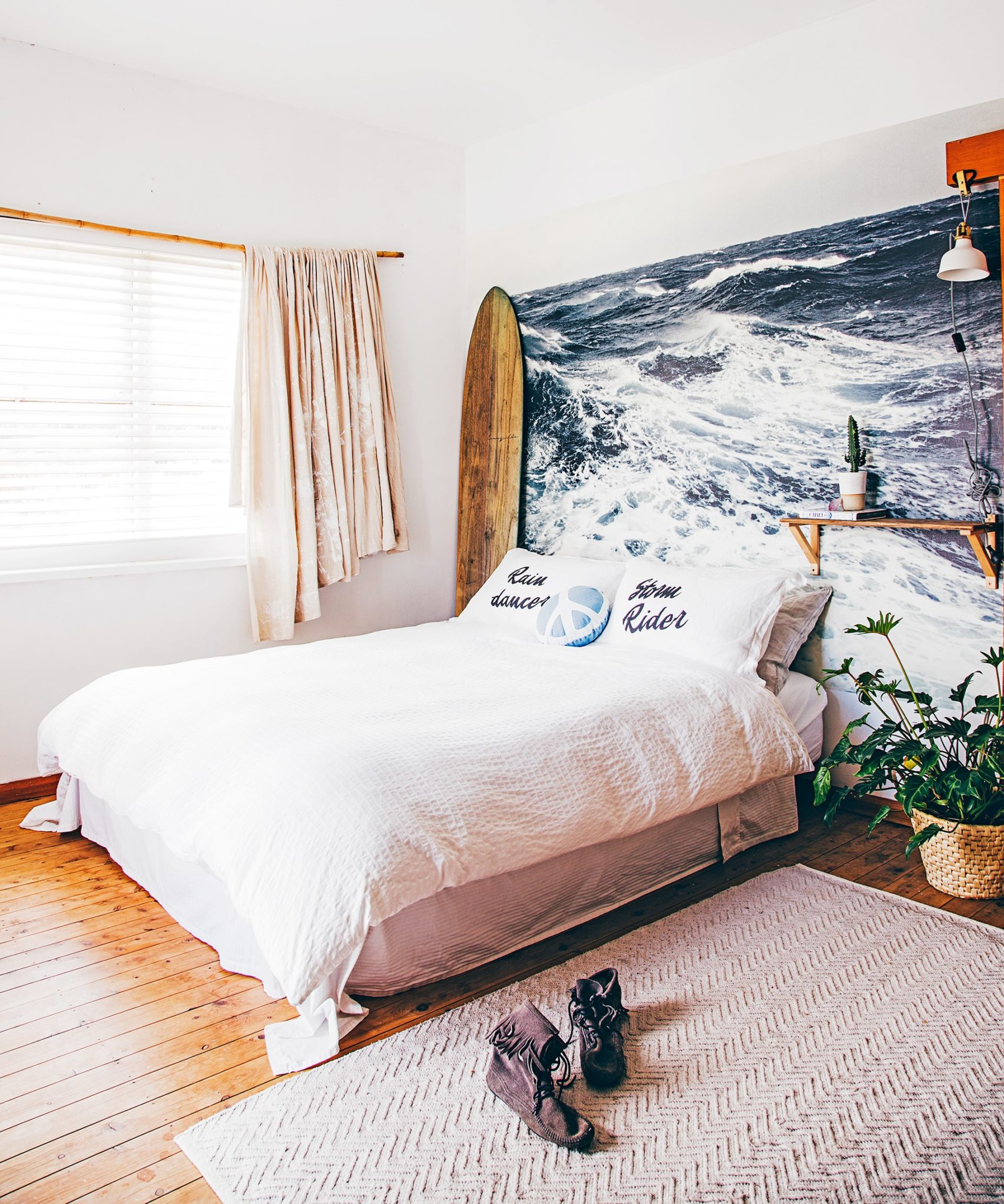An oversized (but removable!) wall mural can completely transform a dated rental apartment. Photo: Lynden Foss @ Citizens Of Style / real living