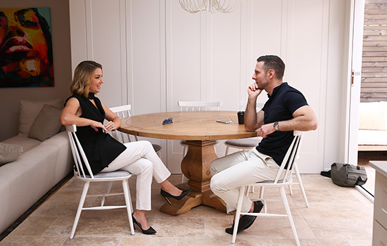 Darren Palmer chats to Jules Sebastian. Picture: Scott Ehler Photography