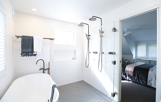 Palmer renovated one bathroom and added another. Picture: Scott Ehler Photography