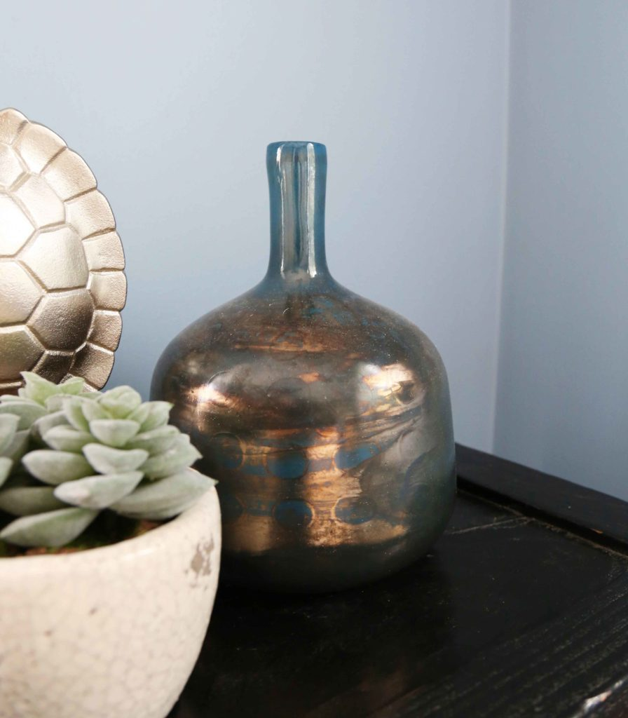 GLASS BOTTLE VASE METALLIC BLUE
